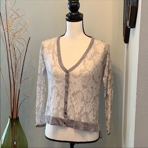 Chico's white and silver/gray cardigan